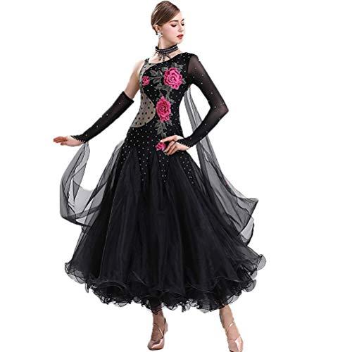 Tango Vestidos de Baile - Costura De Estndar Bailando Vestido Largo para Mujere,National Standard Ballroom Dancing Modern Dance Practice Vestido Adulto Mujer (Color : Negro, Size : 3XL)