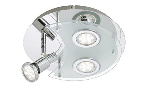 Briloner Leuchten LED Deckenleuchte, Deckenlampe, GU10, 3 x 3 W, 250 lm, Spot schwenkbar, chrom 2228-038