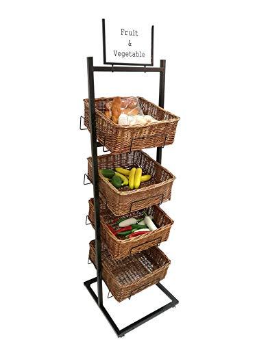 FixtureDisplays 4 Tier Basket Stand Wicker Basket Bakery Rack Produce Stand Food Rack Fruit, Wicker - Black 120005-NF