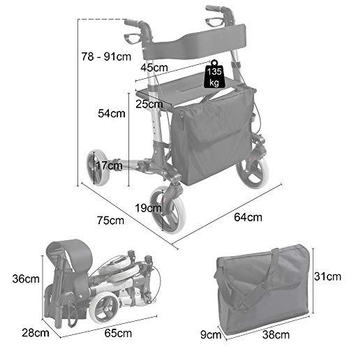 AREBOS Deambulatore 4 Ruote | 135 kg | Pieghevole | Alluminio | Peso Leggero | con Borsa per la Spesa | Rosso