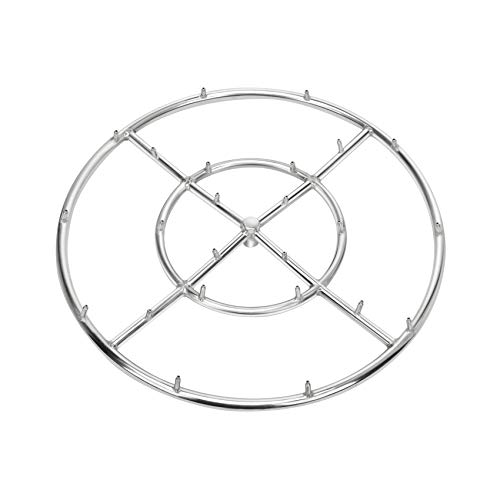 Stanbroil 24' High Flame Round Jet Burner Ring for Natural or Propane Gas Fire Pit, 304 Series Stainless Steel, Double Ring