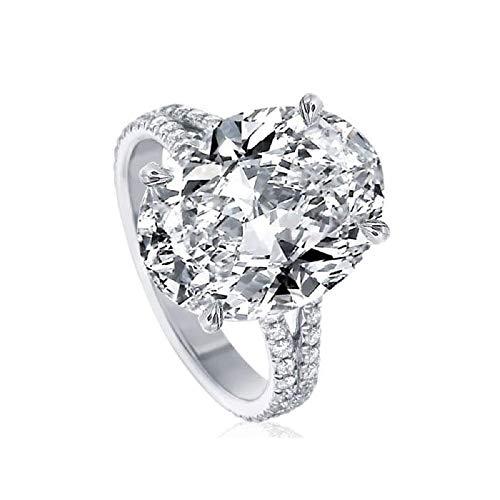 XJJJ Engagement Ring 9 Karaat Ovaal Gesneden Engagement Ring in Sterling Zilver, Vrouwelijke Ring Split Ring Zilver Zirkoon Bruiloft Ring 9,5 Wit Verguld