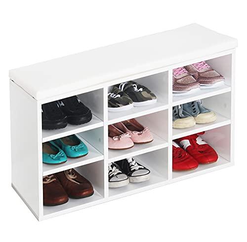 RICOO WM035-WM-W Banco Zapatero 79x49x30 Armario Interior con Asiento Organizador Zapatos Mueble recibidor Perchero Entrada Madera Color Blanco