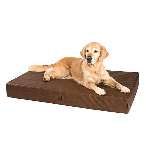 JAMAXX Premium Leder-Matratze - Orthopädisch Memory Visco - Kunstleder Abwaschbar Hygienisch Wasserabweisend Hunde-Matte PDB1017 (L) 120x73 Vintage braun