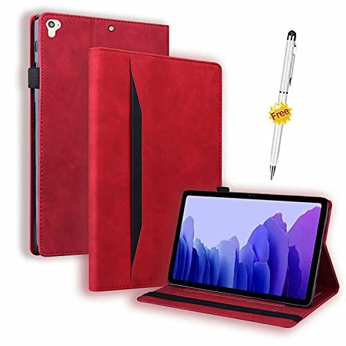 Funda Samsung Galaxy Tab S7 Plus/Tab S7+/Tab S7 Fe, Case Carcasa Samsung Tab S7 Plus/Tab S7+ T970 T976B 5G 12.4 Pulgadas 2021, Tableta con lápiz táctil con función Stand, Rojo