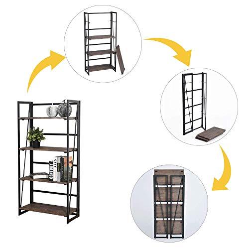 FurnitureR Sin Ensamblaje Estantes Plegables con 4 Repisas Estilo Industrial y Vendimia Elegante Librero…
