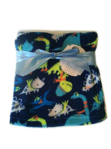 Super Soft Plush Lightweight Furry Fleece Blue White Aqua Turquoise Lime Green Navy Dinosaur Baby Blue Boy Blanket Gift (30' x 30' inches)