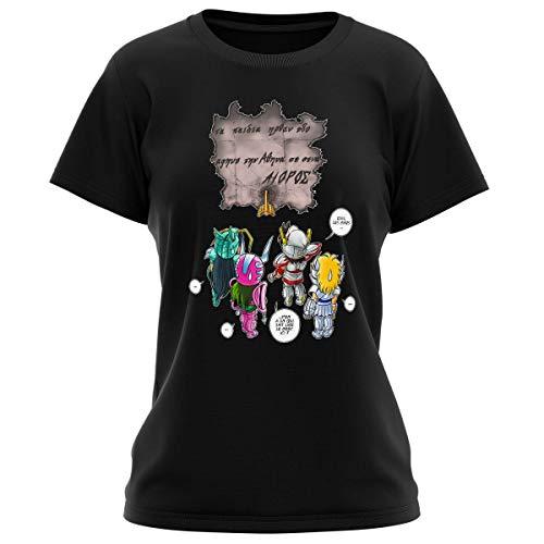 T-shirt Femme Noir parodie Saint Seiya - Seiya, Shiryu, Hyoga et Shun dans la maison d'Aioros - 4 touristes japonais perdus en Grèce... (T-shirt de qualité premium de taille L - imprimé en France)