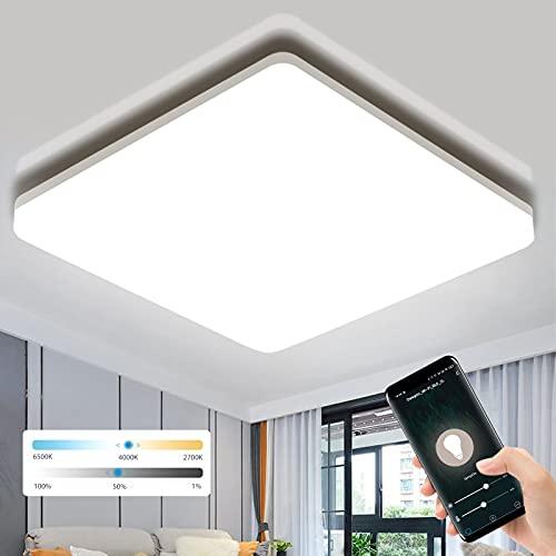 Lámpara LED de techo regulable, Oeegoo 18W 1800LM WiFi Plafon Techo Led, IP54 lámpara de baño, compatible con Alexa y Google y aplicación de control por voz, para Sala de Estar Dormitorio Pasillo