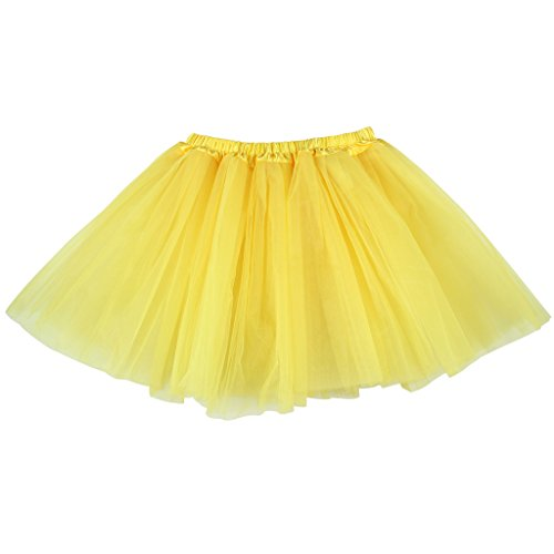 BUENOS NINOS Women's 3 Layers Fluffy Tutu Costume Ballet Dance Skirt for Running and Races Yellow L-XL