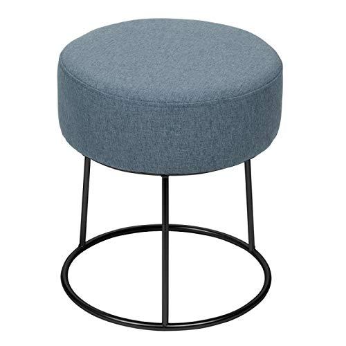 TABLE PASSION - Pouf Jasper 40 cm Gris-Bleu