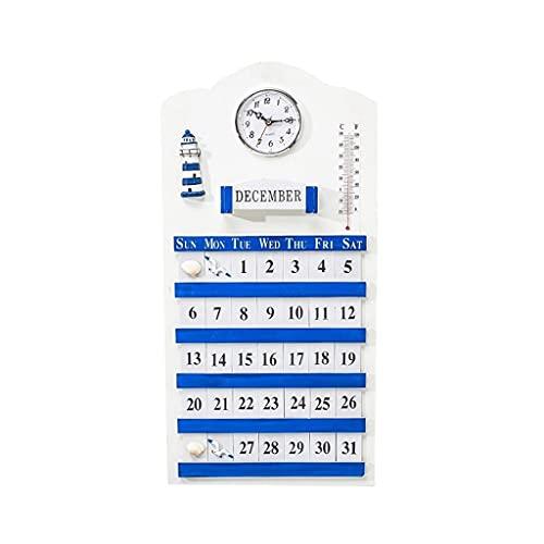 LZL Estilo Playa Perpetuo Calendario Wallmount Cubos Ajustables de Madera Calendario Shabby Chic Perpetual Desk Calendar, Blanco (Color : Wall Calendar B)