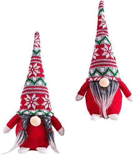 FLYAND 2pcs Poinsettia Pattern Holiday Gnome Handmade Swedish Tomte Plush Christmas Elf Decorations Scandinavian Tomte Christmas Decoration (Feamle and Male)