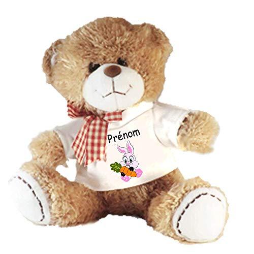 Peluche Nounours avec un Tee shirt lapin Personnalisable avec un Prénom Exemple Jeannot