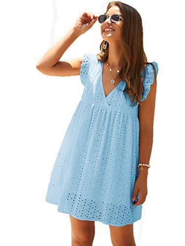 DIDK Women's Boho Ruffle Armhole Sleeveless V Neck Eyelet Embroidery Smock Dress Blue Large