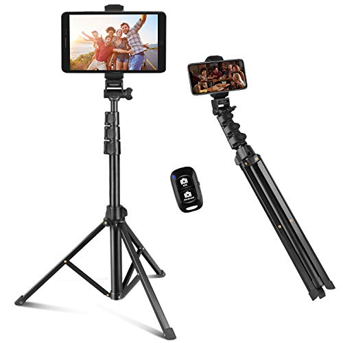 Selfie Stick & Phone Tripod, Sensyne 67' Extendable Travel Tripod Stand with Universal Phone/Pad Clip, Remote Shooting Compatible with iOS & Android Devices, Tripod for Video Shooting, Vlog