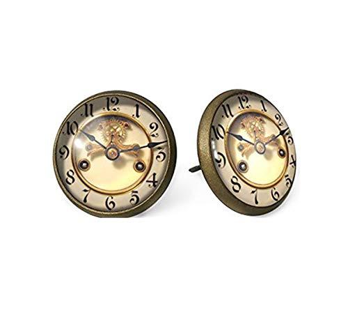 Studs Photo Old Clock, Pendientes de Poste, Adornos de Cristal de cúpula, Regalos para Ella
