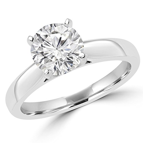 Photo of 1 1/2 CT 4-Prong Diamond Solitaire Engagement Ring in 14K White gold