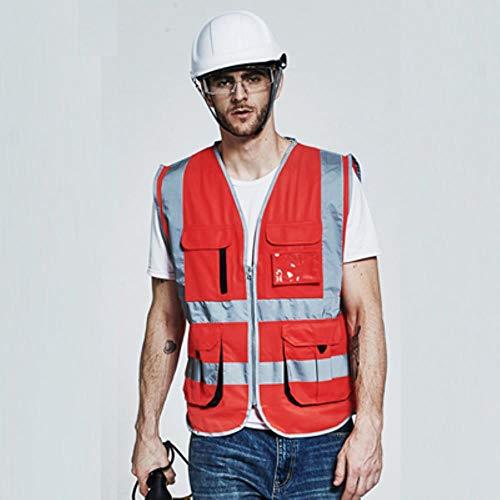 Reflecterend vest waarschuwingsvest voor heren, cargo, work vest, meerdere zakken, geel zwart, waarschuwingsvest, reflecterende werkkleding met ritssluiting logo-opdruk XL-Chest124cm rood