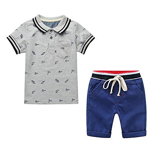 Yilaku Jungen Sommerkleidung Kurzärmlige Plain-Poloshirts mit elastischen Shorts Hosen Outfits Set (Grau/Marine, 2-3 Jahre)