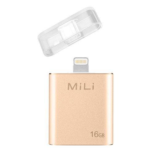 MiLi USB Flash Drive [Apple MFi Certified] iData 16GB Portable Storage USB Flash Drive Specialized for iPhone 6/6 plus/5/5s/5c/ipad 4/ipad Mini/i Mac/iPod with Lightning Device - Gold
