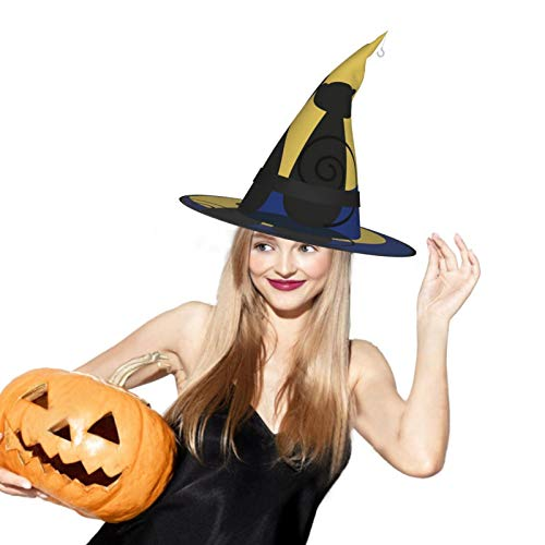Black And White Cat Moon Star Halloween Witch Hat LED Light Cosplay Party Ornament