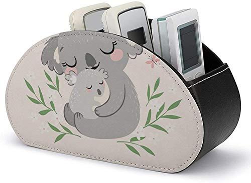 Organizador de mesita de noche - Soporte para control remoto Cuero de PU Lindo Koala MOM y almacenamiento de accesorios multimedia para bebés y organizador con 5 compartimentos espaciosos para contro