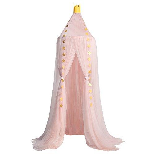 Mosquitera de Dosel de la Cama con Encaje Elegante Cama Princesa Mosquitera Anti-Insectos para Camas Infantiles(10Pcs Mosquitera & 2Pcs Corona)
