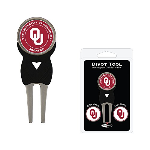 Team Golf NCAA Oklahoma Sooners Divot Tool with 3 Golf Ball Markers Pack, Markers are Removable Magnetic Double-Sided Enamel