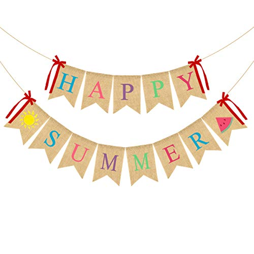 2Pack Happy Summer Burlap Banner Rustic Garland Decorations with Sun and Watermelon, Pool Beach Barbecue Hawaiian Party Decor Supplies