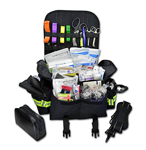 Lightning X Small First Responder EMT EMS Trauma Bag Stocked First Aid Fill Kit B (Black)