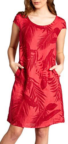 Caspar SKL027 knielanges Elegantes Damen Sommer Leinenkleid bis Größe 50, Farbe:rot, Größe:5XL - DE50 UK22 IT54 ES52 US20
