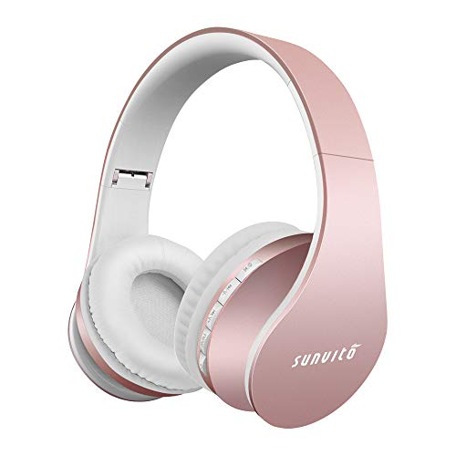 Bluetooth Kopfhörer, Sunvito Faltbarer Surround Studio Über Ohr Funk Headphones Verdrahteter mit Freihändigem Anruf mit Allem 3.5 Millimeter Musik-Gerät und Handy Arbeitet (Roségold)