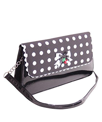 SugarShock Venia Damen Clutch Polka Dots Handtasche, Farbe:schwarz weiss