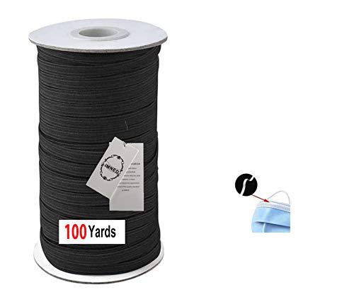 IMNED 1/8' (3mm) Elastic Band for Sewing 100 Yards Elastic Cord Black Braided Elastic Rope Elastic Spool Elastic String High Elasticity Heavy Stretch for Sewing Crafts DIY Bedspread Cuff