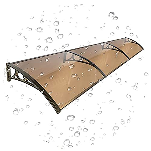 PTY Vordach für Haustür Braune Türfenster Baldachin Markise, Dachterrasse Canopies Veranda Regenschutz UV. Schutzhohlfolie, für Home Eauves Shelter (Color : Champagne Gold, Size : 100cm x 80cm)