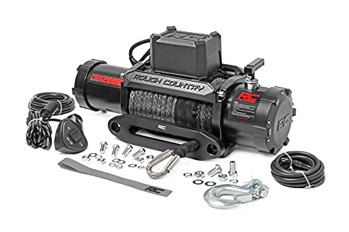 Rough Country 12,000 LB PRO Series Electric Winch   85 FT Synthetic Rope Fairlead   Clevis Hook   12FT Remote  PRO12000S