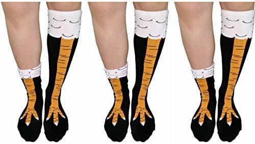 3 Pairs Chicken Legs Knee High Socks 3D Cartoon Animal Thigh High Stockings Cosplay 3 pairs product image