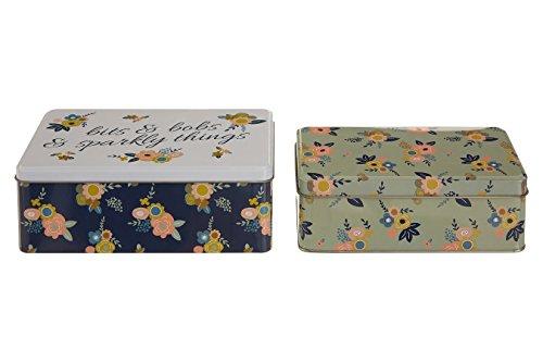 Premier Housewares Alicia de Stockage rectangulaire, Lot de 2, Étain, Multi/colorées, 13 x 20 x 7 cm
