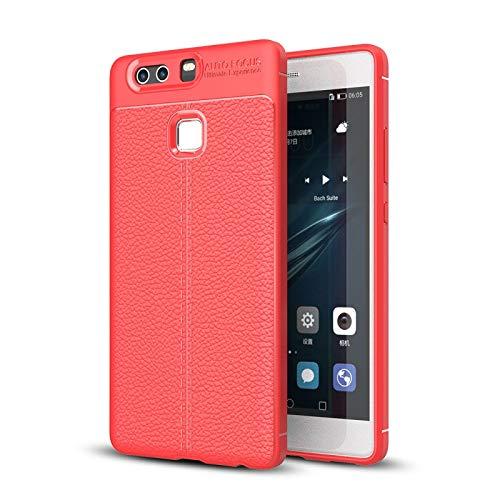 JIANGSHOUJIESPA Funda Protectora de TPU con Textura Litchi para Huawei P9 Plus (Color : Red)