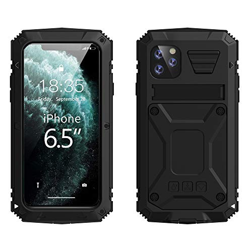 iPhone 11 Pro Max Case,Built-in Gorilla Glass Defender Military Grade Drop Protection Luxury Aluminum Alloy Protective Heavy Duty Shell with Kickstand for Apple iPhone 11 Pro Max 6.5'' (Black)