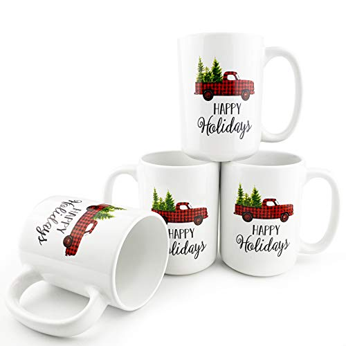 Winder Christmas Coffee Mugs Set of 4 with Red Truck Decor, 16 OZ Large Heavy Porcelain Coffee Mug with Handle, Microwave Safe for Holiday Coffee, Tea, Cocoa, Cereal, Christmas White