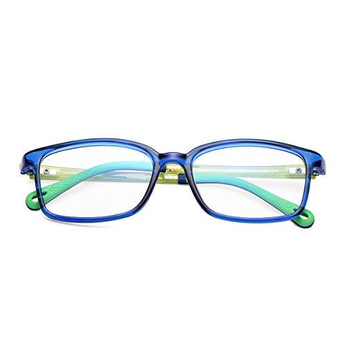 Anti Blue Light Glasses for Kids Computer Screen Glasses, UV Protection Anti Glare Eyeglasses Flexible Frame Video Gaming Glasses for Teenagers Age 5-16 (Dark Blue)