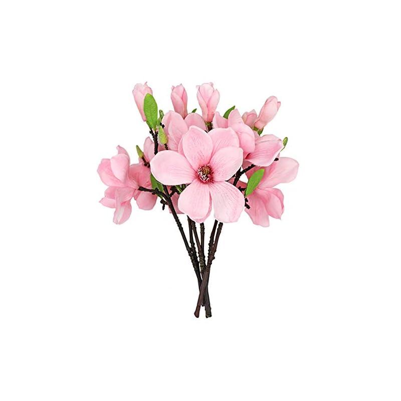 silk flower arrangements judyme 6 pcs magnolia artificial flowers home decor pink single real touch arrangements office vase table centerpiece