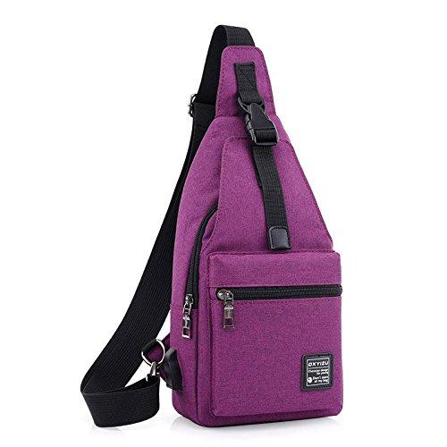 Sac à dos Pack de poitrine Polyvalent Hommes et femmes Toile d'Oxford Courir Ride Escalade A pied Mouvement Sac à bandoulière Pack de poitrine Sac Messenger , Purple