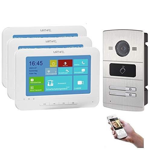 WLAN 2 familiehuis IP video intercomsysteem, inbouw-deurstation IP65, 7 inch monitor, HD-camera 130°, foto-/videogeheugen, PoE-Switch 4 x 7 inch monitor.