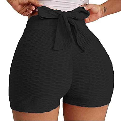 beootcr Bow Tie Textured Butt Lifting Sports Shorts, Tiktok Butt Lifting Yoga Shorts for Women, Tiktok Butt Leggings Shorts High Waist for Workout Sports Gym Running (XL,Black)