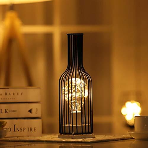 XKMY Nostálgica luz nocturna creativa linterna botella de vino tinto lámpara LED de vidrio para café, hotel, balcón, luz nocturna nostálgica (Color emisor: estilo 3)