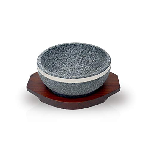 KD Home Dolsot Ttukbaegi Korean Stone Bowl with Trivet Tray, Large, Hot Pot for Cooking Soup Stew Jjigae & Any Food, Keep Food Hot Until Last Bite, Perfect for Home & Restaurant, Made in Korea 돌솥 뚝배기