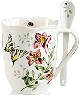 Lenox Butterfly Meadow Mugs and Spoon Set, 1.45 LB, Multi